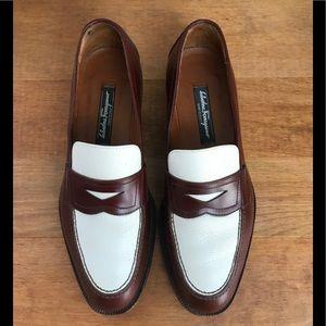 Salvatore Ferragamo Brown White Leather Loafers